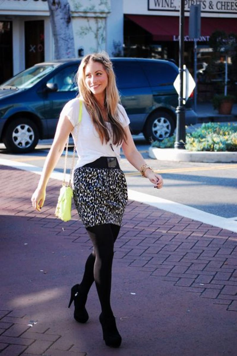 Splendid Top, Forever 21 Skirt, H&M Tights, Steve Madden Booties, Rebecca Minkoff Purse, Handmade Necklaces, Michael Kors Watch