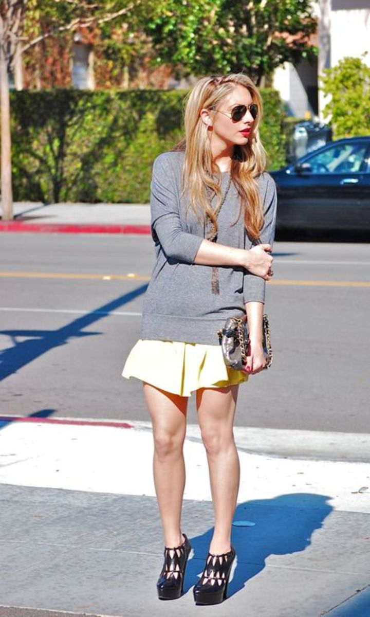 Forever 21 Top and Skirt, Vintage Aviators, Martin + Osa Necklace, Sabertooth Ring, Coach Clutch, Alaia Platforms