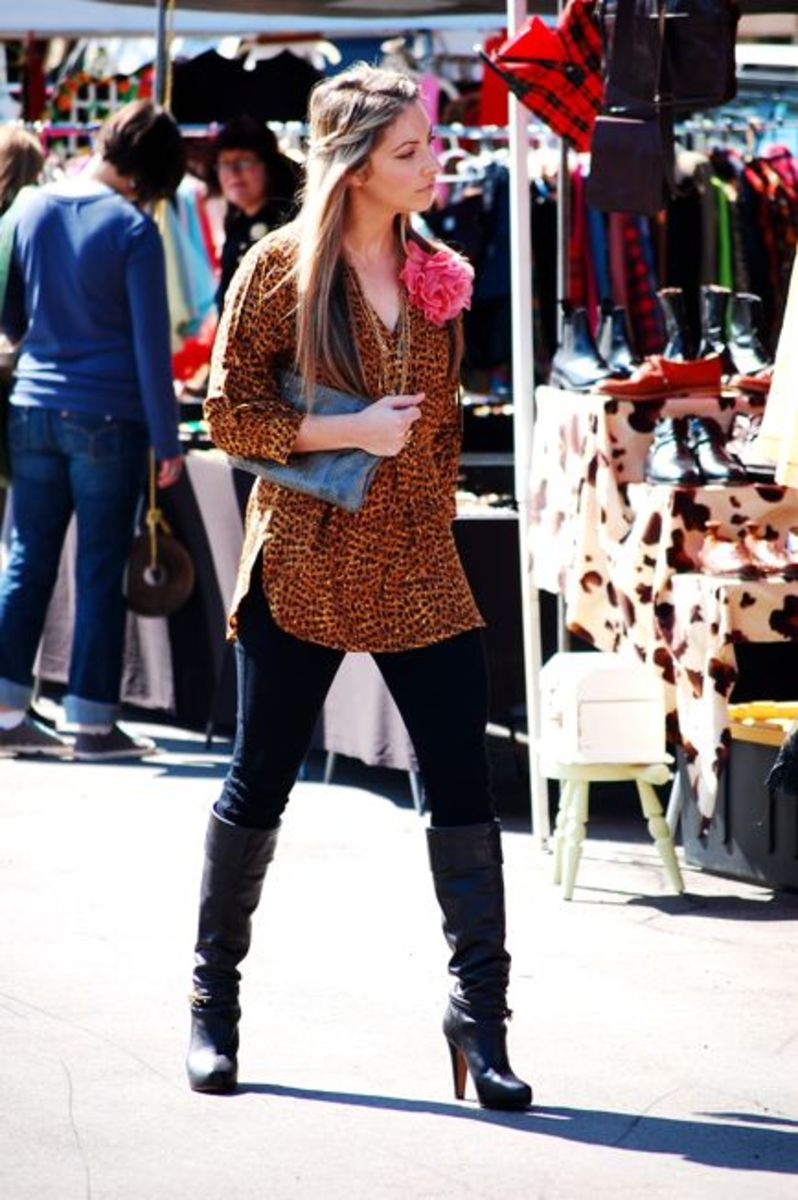 Citizens of Humanity Jeans, Zara Leopard Tunic, , Coach Boots, Vintage Clutch, Handmade Necklaces, Anthropologie Flower Pin