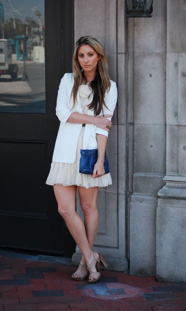 Elizabeth & James Blazer, 3.1 Phillip Lim Dress (compliments of Planet Blue), Vintage Belt and Clutch, Alberta Feretti Sandals