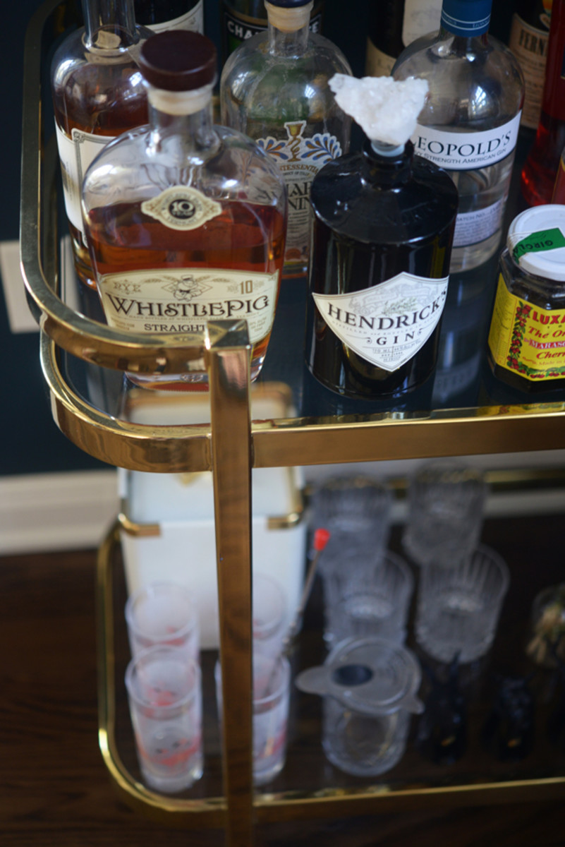 {Our new brass bar cart put to good use}