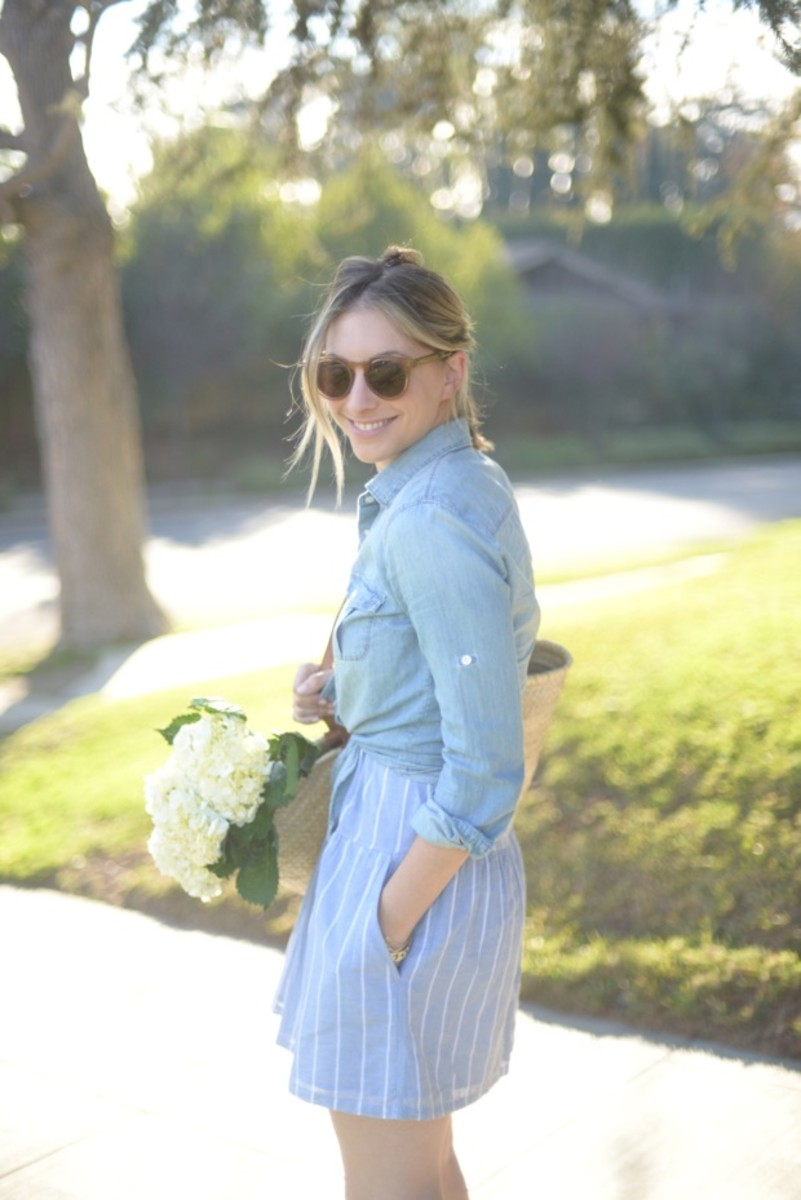 Illesteva Sunglasses, J.Crew Chambray, Soft Joie Dress, Unnamed Straw Bag, Marni Heels