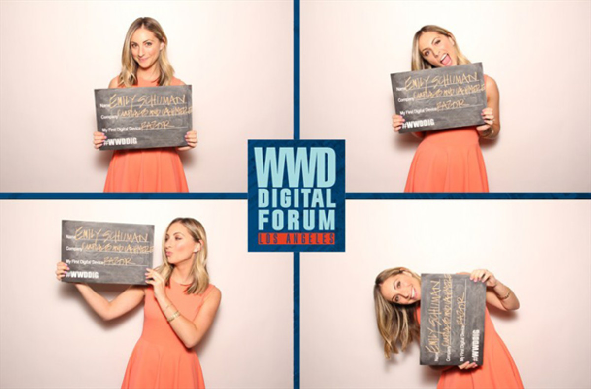 {Having some fun after speaking at the WWD Digital Forum}