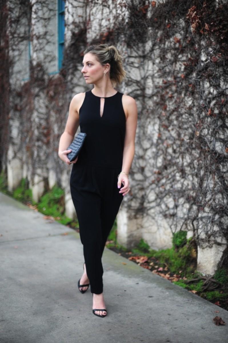 Rag & Bone Jumpsuit, Zara Heels, Topshop Clutch