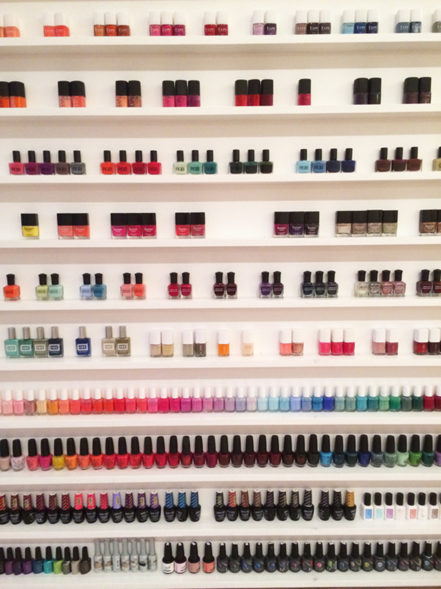 {The incredible nail polish wall at Olive & June}