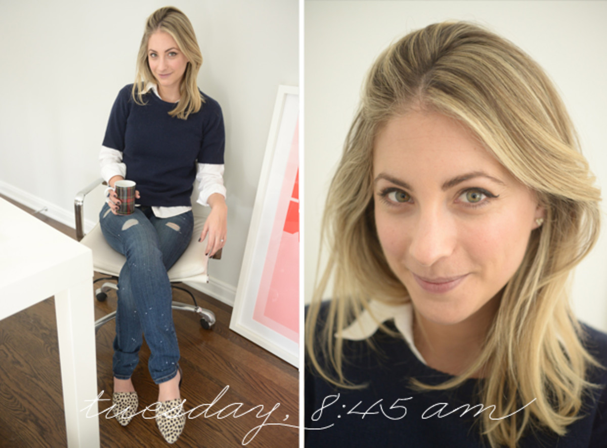 {Brooks Brothers Button-down, Calypso Sweater, Current/Elliott Denim, Jenni Kayne Flats}