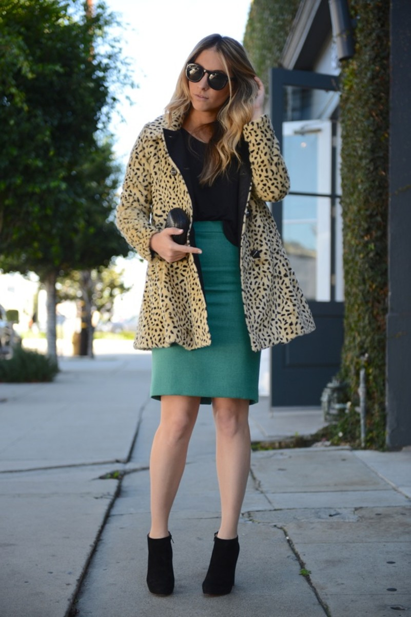 Free People Coat, Celine Sunglasses, T by Alexander Wang Top, J.Crew Skirt, Louboutin Booties, Alexandra DeClaris Clutch