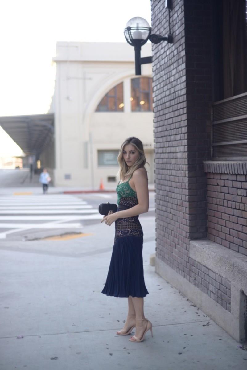 Self Portrait Dress, Alexandra DeClaris Clutch, Zara Sandals