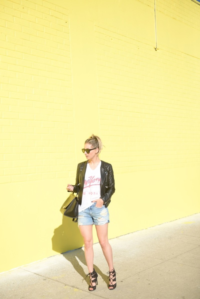 Celine Bag & Sunglasses, Ascot + Hart Shirt, Anine Bing Jacket, Rag & Bone Shorts, Zara Heels