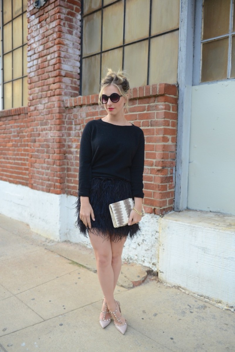 Free People Sunglasses, 360 Sweater, Robert Rodriguez Skirt c/o, Valentino Heels, Vintage Clutch