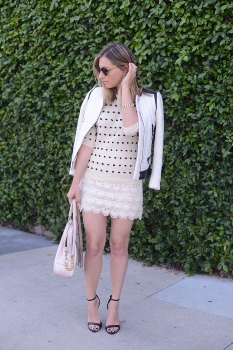 Super Sunglasses, Club Monaco Jacket, J.Crew Sweater, Club Monaco Skirt, Cupcakes and Cashmere for Coach Bag, Zara Sandals