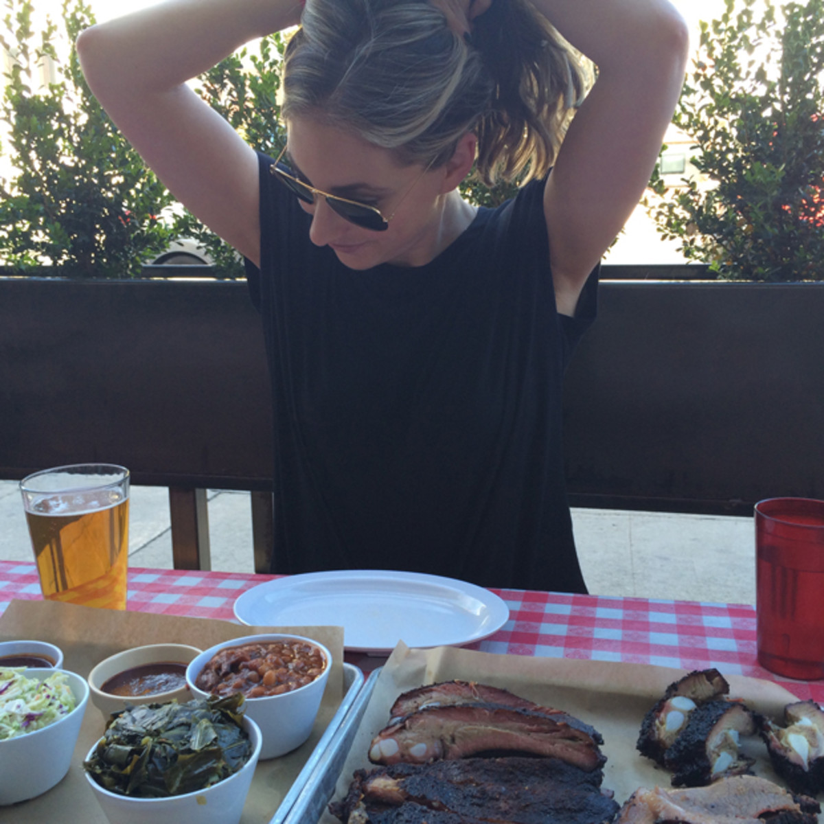 {Putting my hair up for the best BBQ in town}
