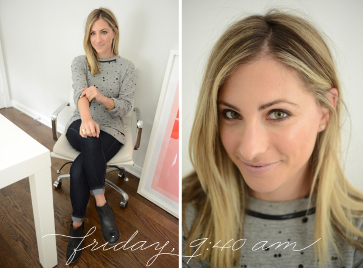 {Robert Rodriguez Sweatshirt, Blank Denim, H by Hudson Booties, Tom Ford 'Naked' Lipgloss}