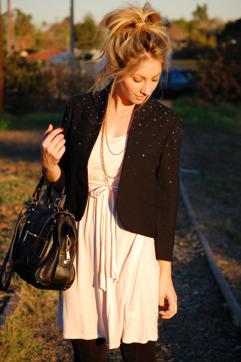 Vintage Jacket, Gap Dress, Gryson Bag, Vintage Necklaces, H&M Tights, Zara Booties