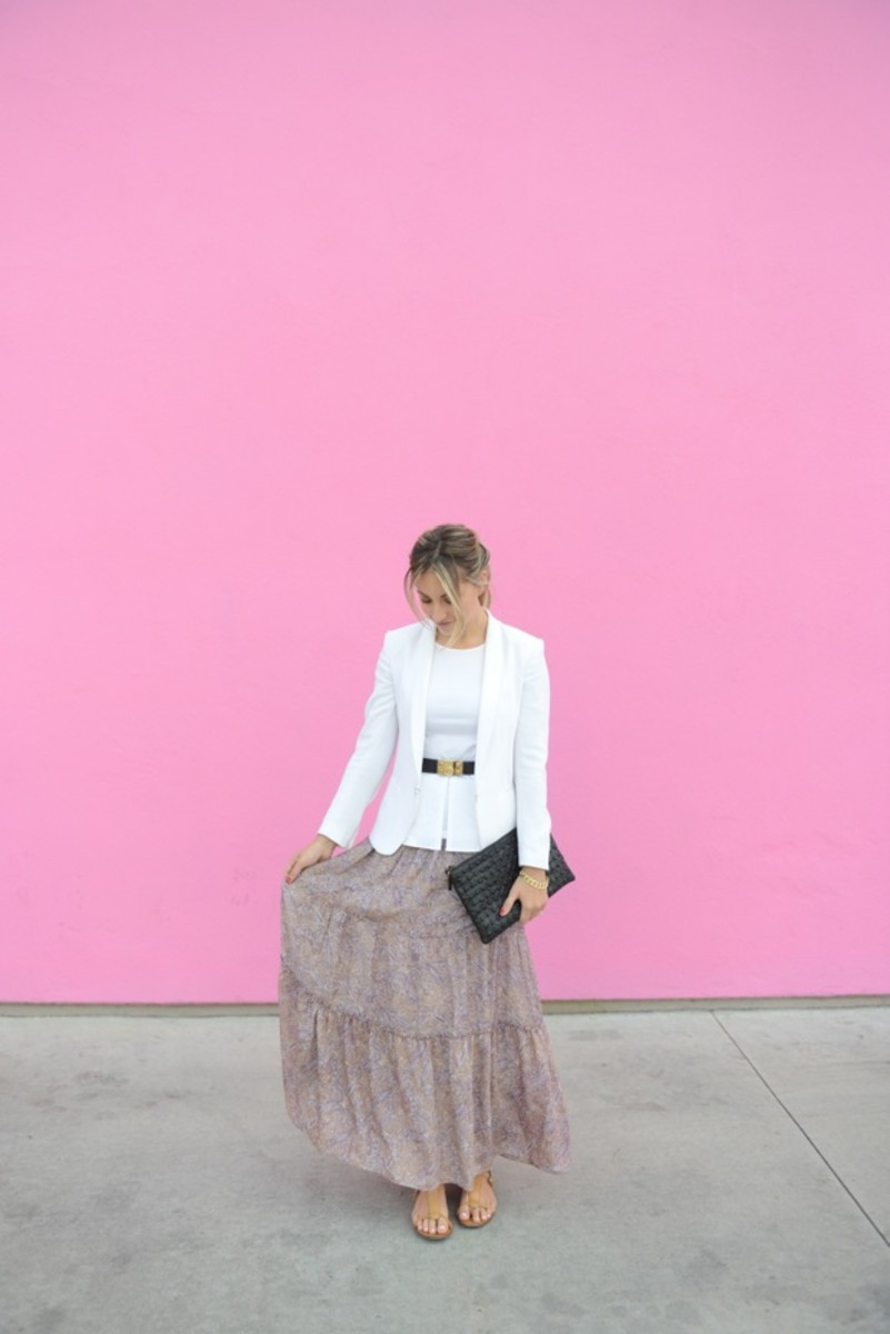 Rag & Bone Blazer (similar here), Theory Top, Hermes Belt, T-Bags Skirt, Topshop Clutch, J.Crew Sandals