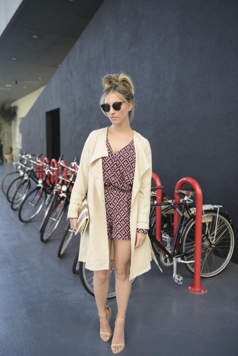 Super Sunglasses, Blue Life Romper(on sale), H&M Trench, Vintage Clutch, Zara Sandals