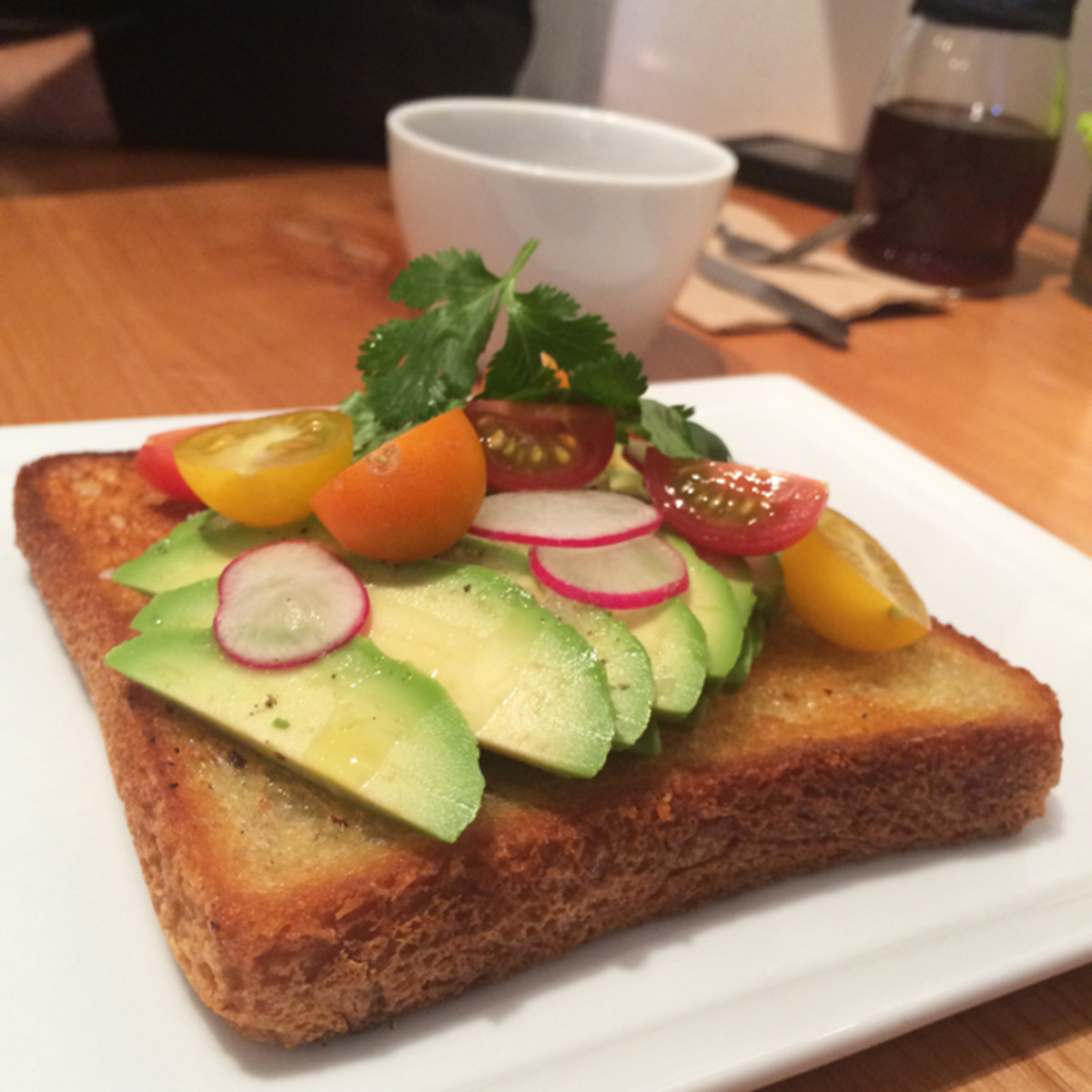 {Avocado toast from our local coffee shop}