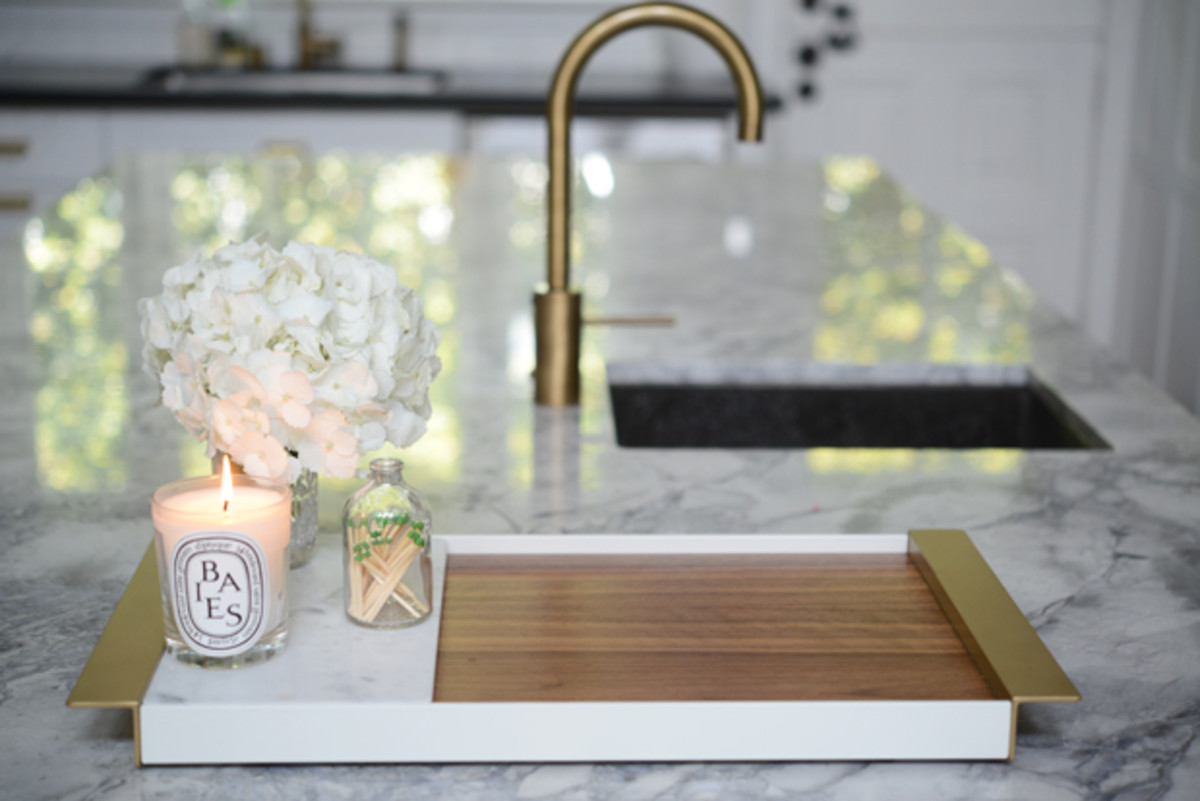 {A wooden/marble/brass tray - a sweet present from G}