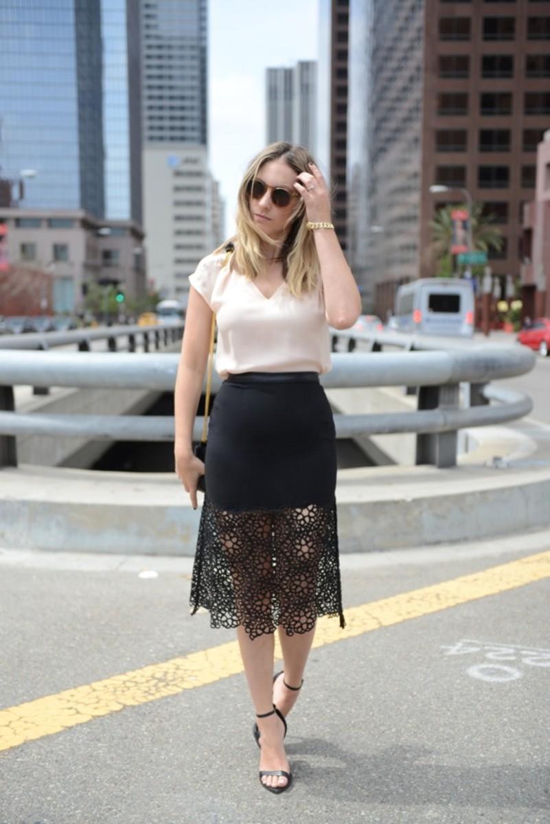Illesteva Sunglasses, Joie Top,Shakuhachi Skirt, Zara Sandals, Vintage Chanel Bag