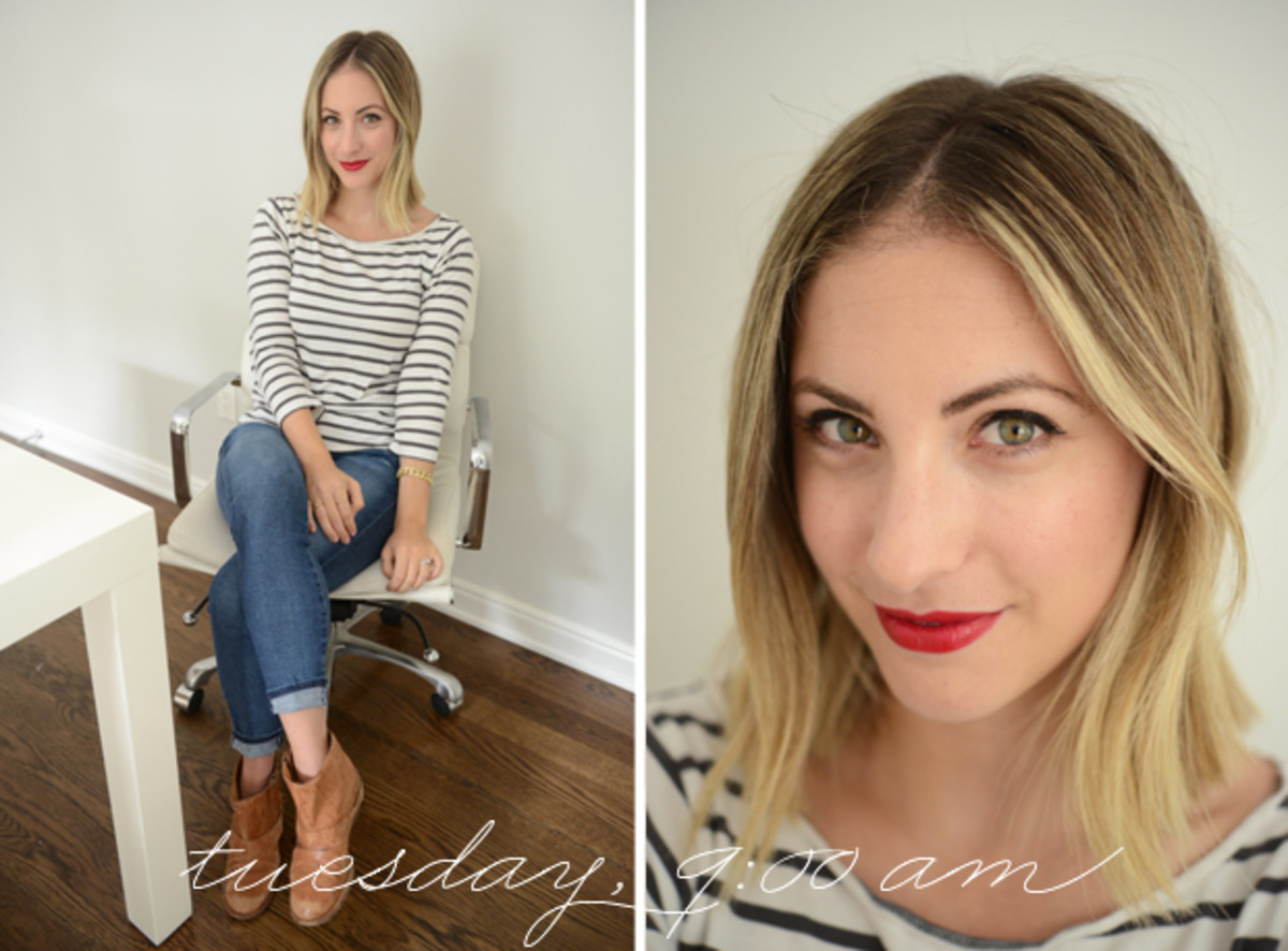 {H&M Striped Shirt, AG Jeans, VPL Booties, M.A.C. 'Russian Red' Lipstick}