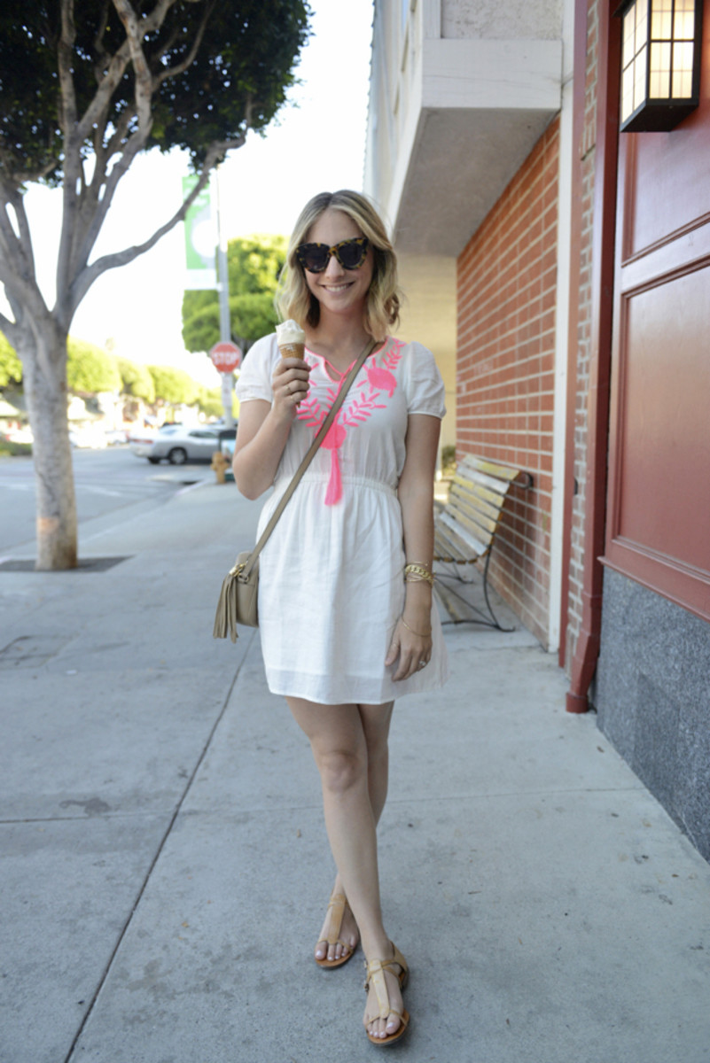 Karen Walker Sunglasses, d.Ra Dress, Gucci Purse, J.Crew Sandals