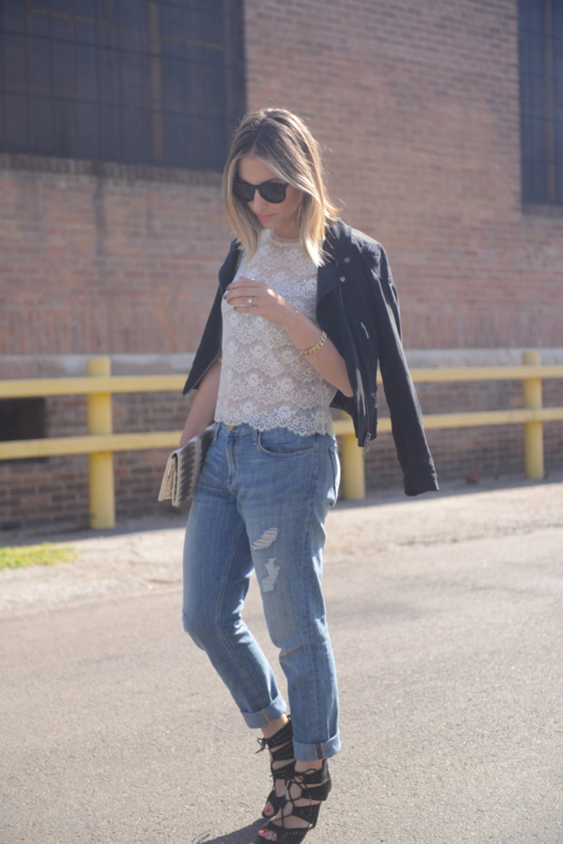 {Celine Sunglasses, Forever 21 Top, Club Monaco Jacket, McGuire Jeans, Zara Heels, Vintage Clutch, Topshop 'Macaroon' Lipstick, OPI 'I São Paolo Over There' & Essie 'Hip-Anema' Nail Polishes}