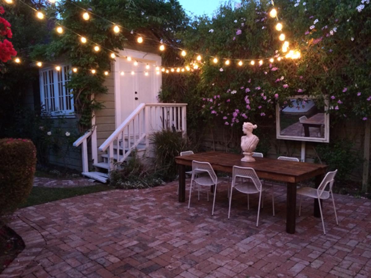 {Starting to enjoy warm summer nights in our backyard}