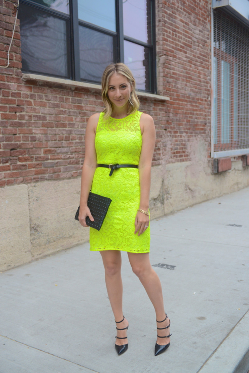 {J.Crew Dress, Club Monaco Belt, Gianvito Rossi Heels, Topshop Clutch}