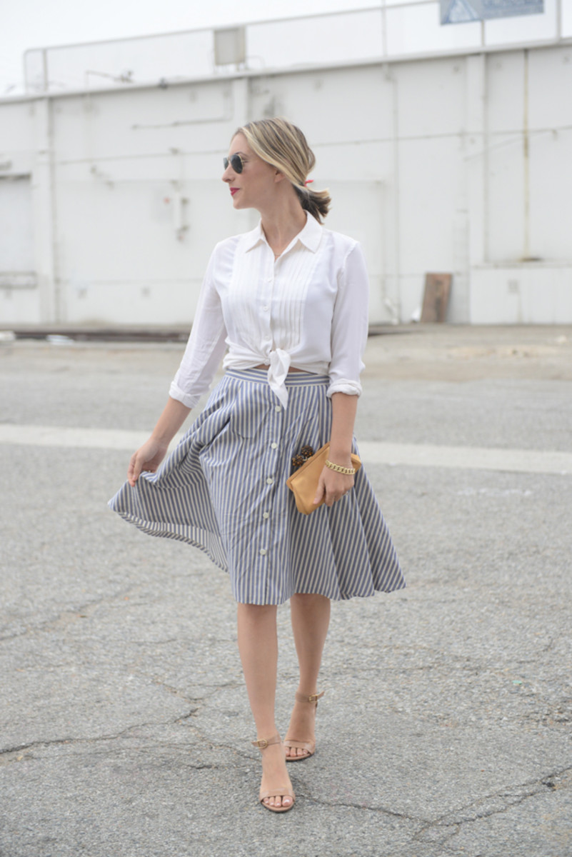 {Ray-Ban Aviators, Equipment Blouse, Zara Skirt, Tiffany & Co. Clutch, J.Crew Sandals, Tom Ford 'Cherry Lush' Lipstick'}