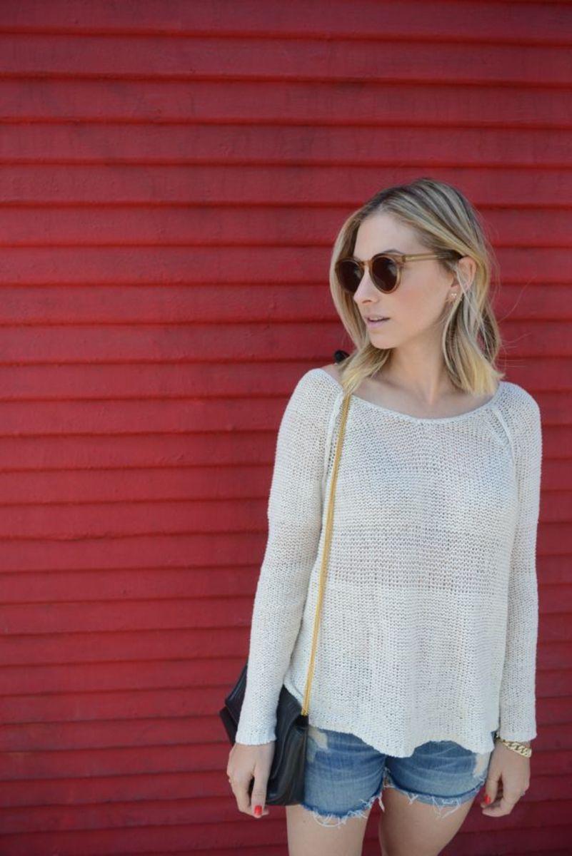 {Illesteva Sunglasses, Free People Sweater, Vintage Chanel Bag, Vince Shorts, Nike Shoes}
