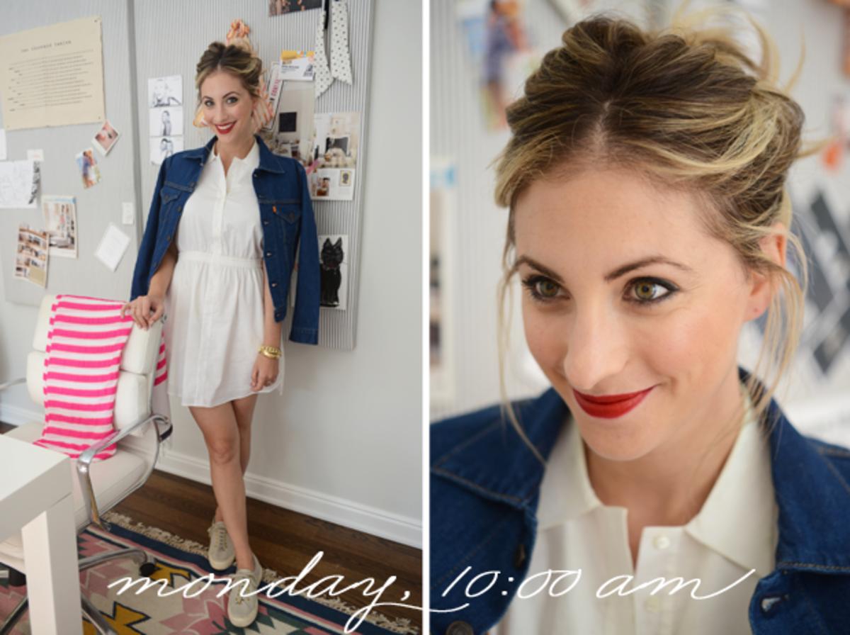 {Theyskens' Theory Dress, Levi's Denim Jacket, The Row X Superga Shoes, Dolce & Gabbana Lipstick in 'Scarlet'}