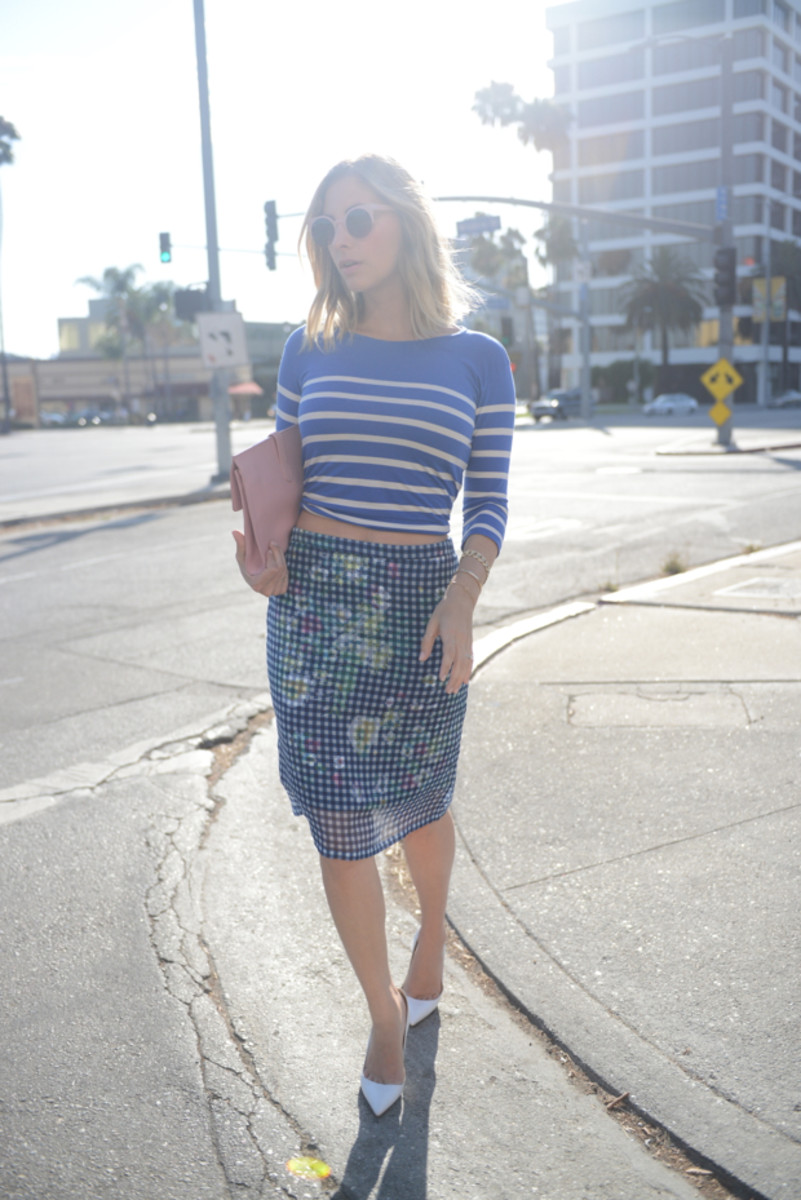 {Forever 21 Sunglasses, J.Crew Striped Shirt, Lord & Taylor Skirt, Balenciaga Bag, Manolo Blahnik Pumps}