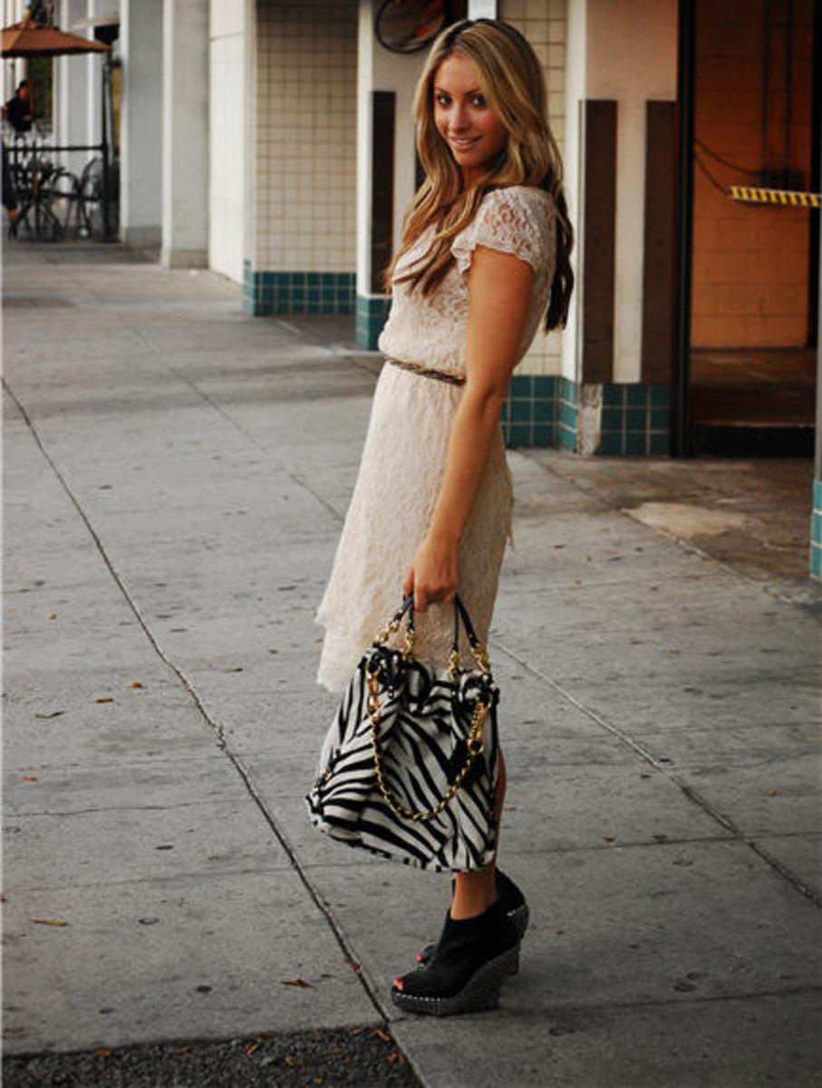 Vintage Dress and Slip, Coach Brooke Zebra Bag, Jeffrey Campbell Platforms (for LF)