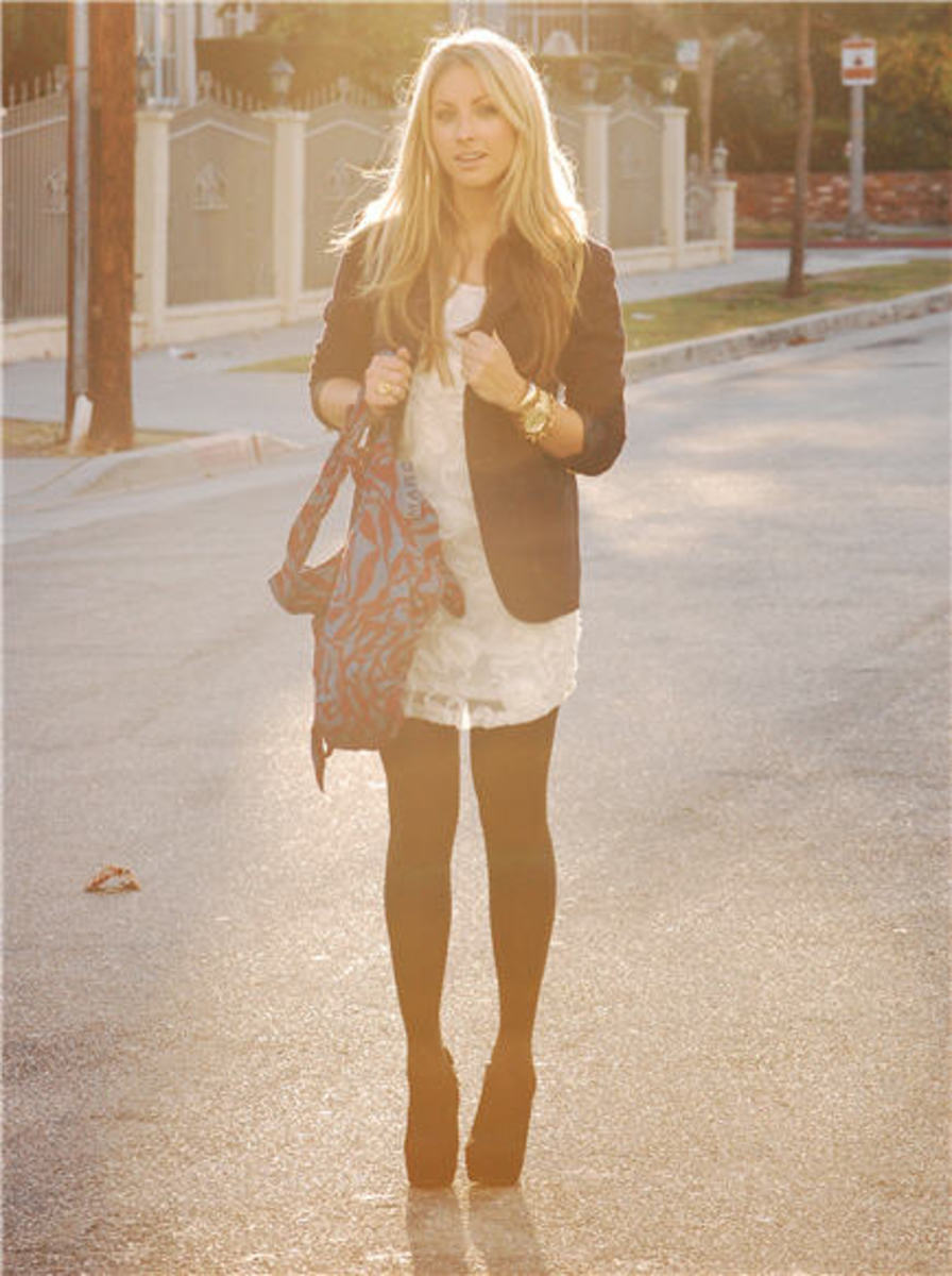 Vintage Blazer, F21 Dress, H&M Tights, Marc by Marc Jacobs Bag, Vintage Bracelets, Michael Kors Watch, Steve Madden Booties