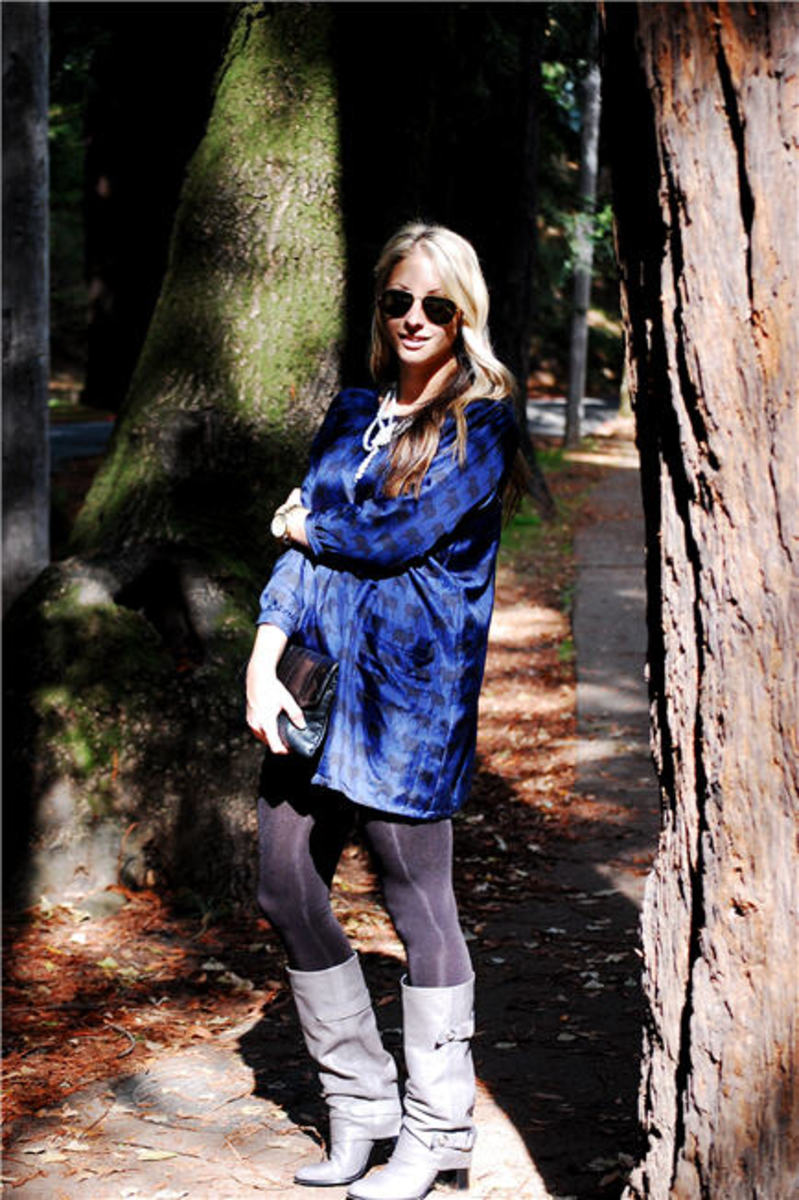 Wren Tunic, F21 Necklace, Vintage Aviators & Clutch, Michael Kors Watch H&M tights, Coach Boots