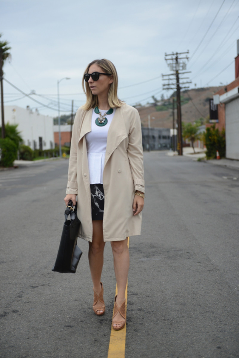 {Celine Sunglasses, H&M Trench, Theory Top, Anthropologie Necklace, Robert Rodriguez Skirt, Prada Heels, Zara Bag}