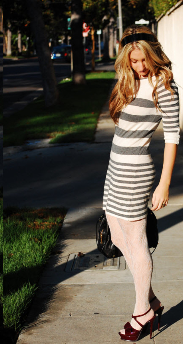 TopShop Sweater Dress, J. Crew Patent Headband, H&M Tights, Gryson Bag, YSL Shoes