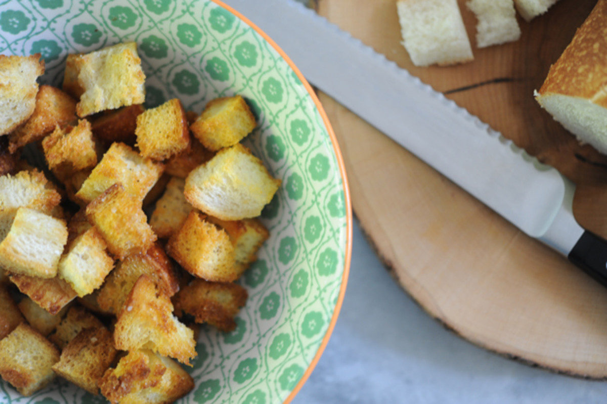 {Homemade croutons make every salad better}