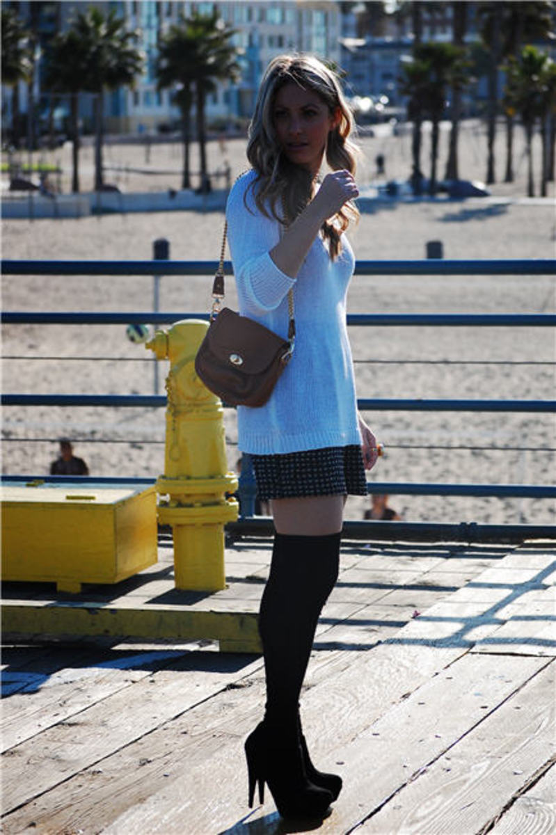 H&M Sweater, Jenny Yuen Bag, Wren Skirt, J.Crew Thigh-Highs, Steve Madden Booties