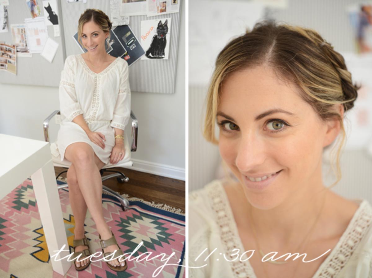 {H&M Dress, Birkenstock sandals, Topshop Lipstick in 'Saint'}