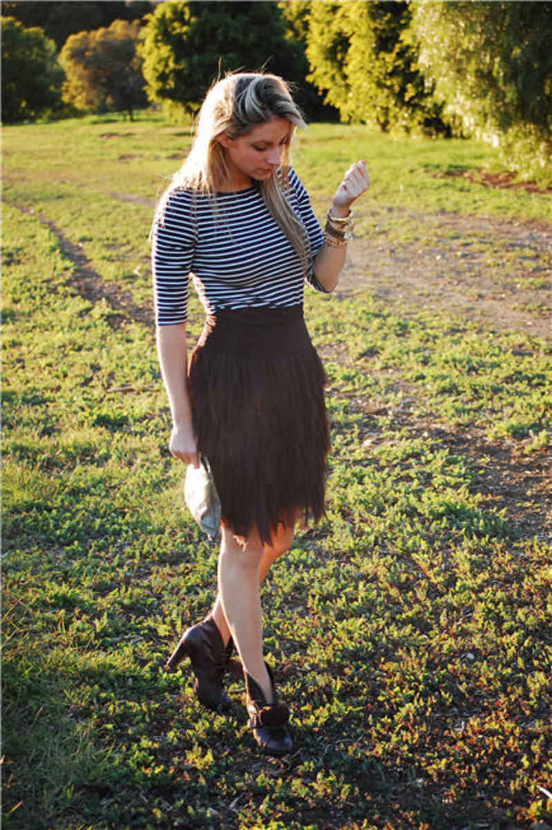 "H&M Top, Trina Turk Skirt, Vintage Clutch, Michael Kors Watch, Seychelles Boots, Essie ""Midnight Cami"" Nail Polish"