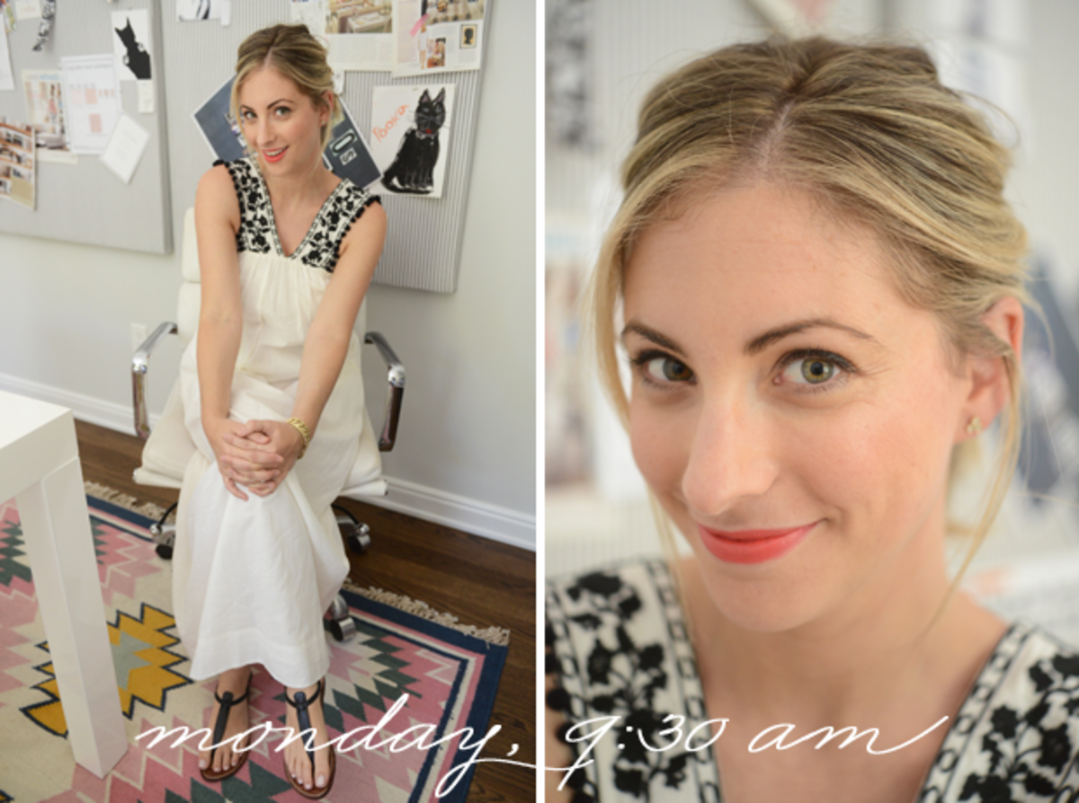 {J.Crew Dress, Sam Edelman Sandals, Maybelline 'Coral Crush' Lipstick}