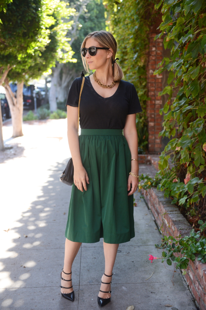 {Celine Sunglasses, J.Crew Necklace, Cotton Citizen Shirt, Zara Skirt (similar here), Vintage Chanel Bag, Gianvito Rossi Pumps}