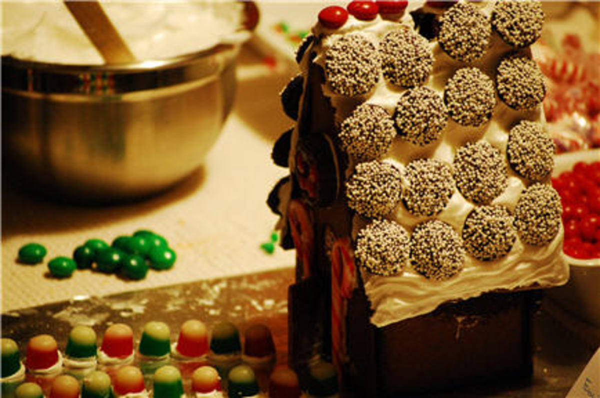 {Gingerbread House in progress. Thanks, Rach!}
