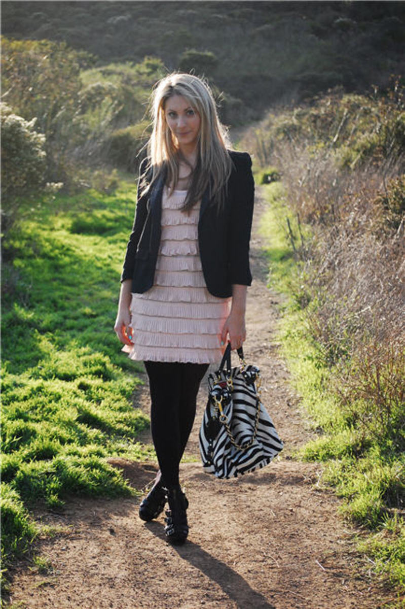 Topshop Blazer, H&M Dress and Tights, Cynthia Vincent Wedges, Coach Bag