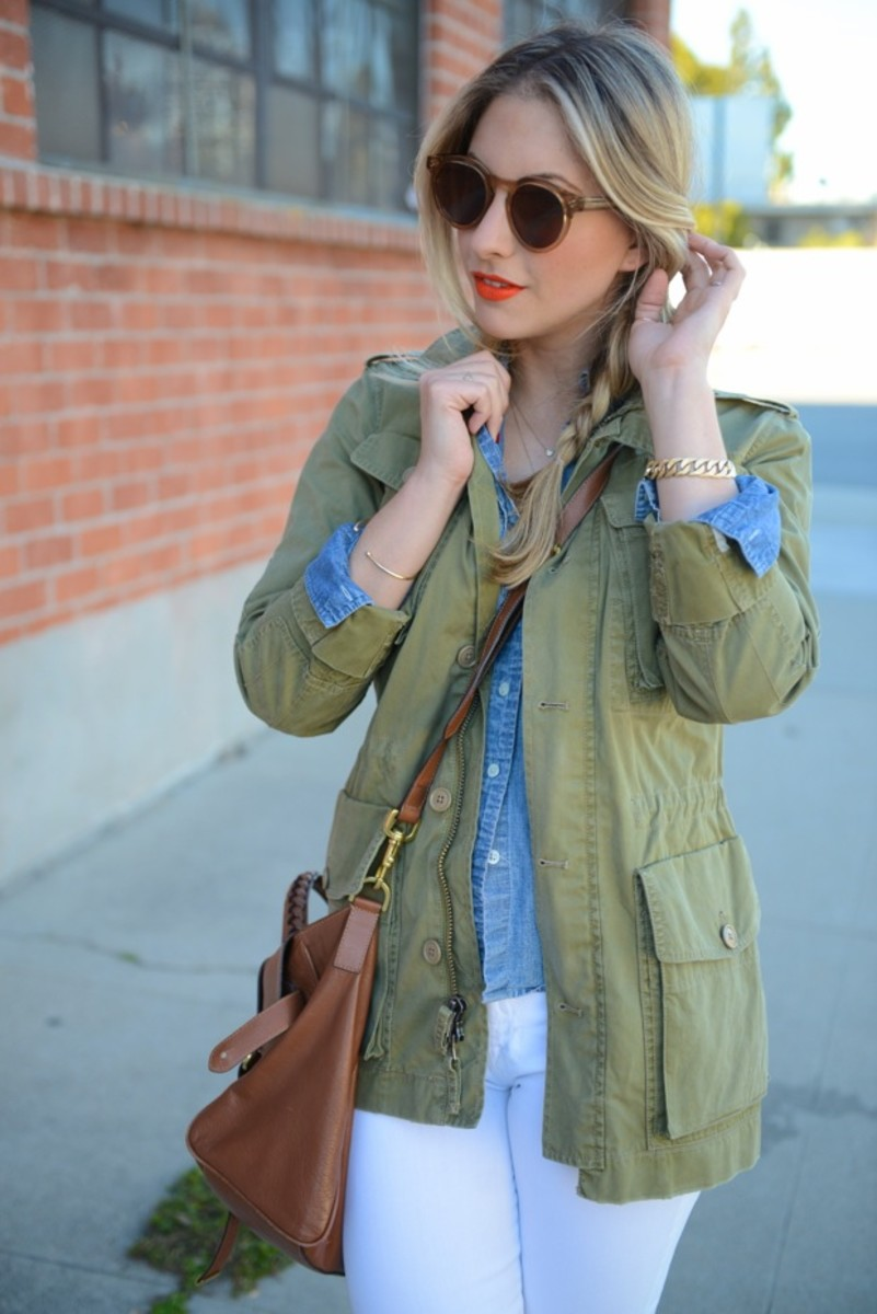 J.Crew Jacket and Shirt, Illesteva Sunglasses, J.Brand Jeans, Manolo Blahnik Heels, Mulberry Bag, Make-up Forever Lipstick #40