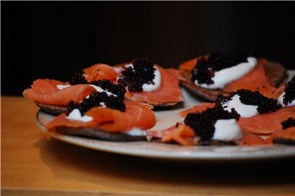 {Buckwheat blini, smoked salmon, Crème fraiche and caviar}