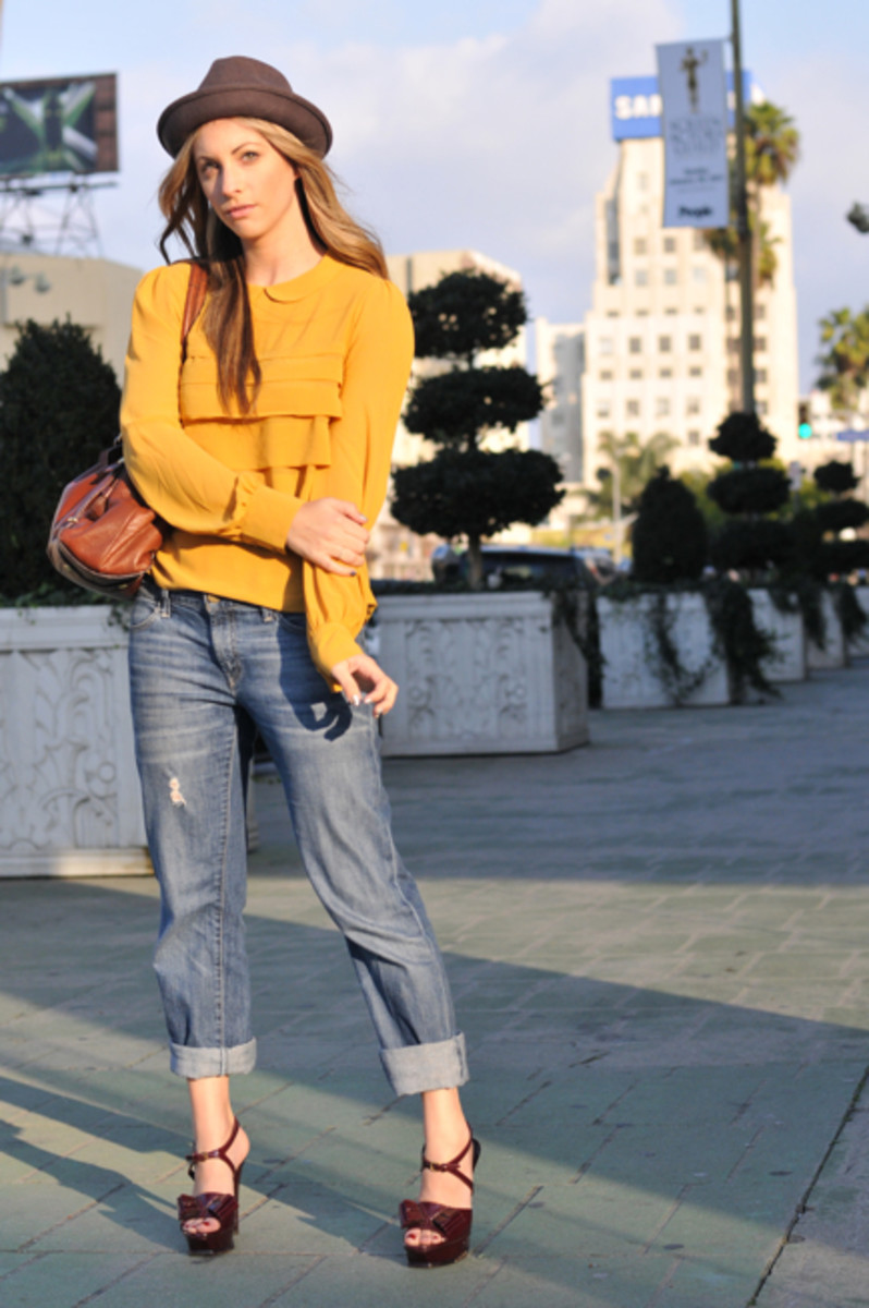Forever 21 Hat, Topshop Blouse, Gap Boyfriend Jeans, YSL Platforms, Coach Bag