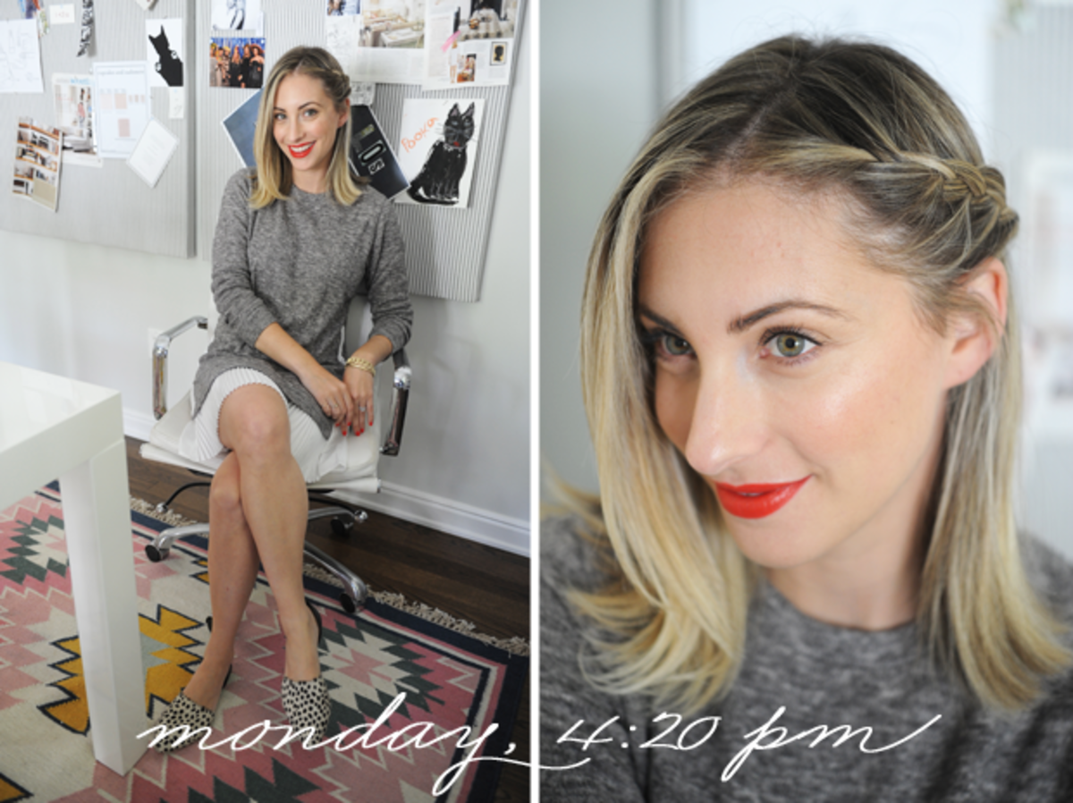 {Clu Too Sweater Dress, Jenni Kayne Flats, Topshop 'Rio Rio' Lipstick}