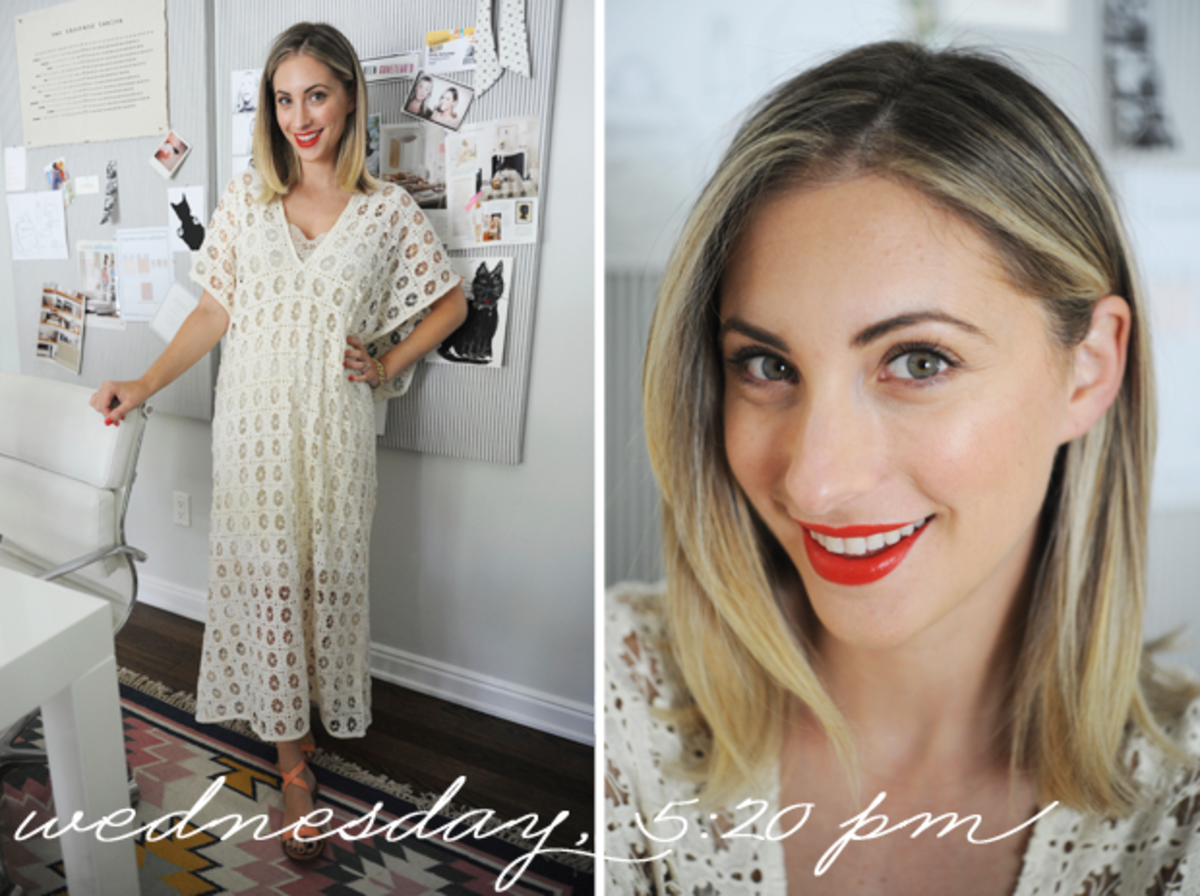 {H&M Dress, J.Crew Sandals, Topshop 'Rio Rio' Lipstick}